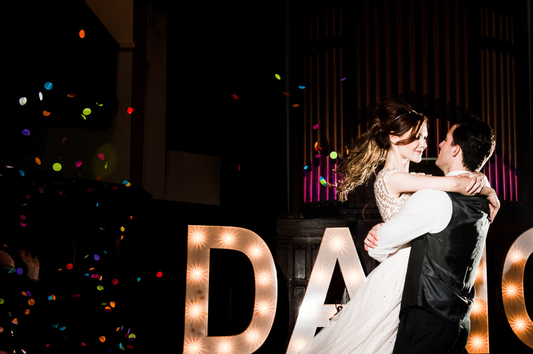 Confetti and Bride and Groom's First Dance at Scottish Wedding