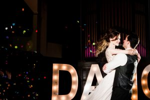 Confetti and bride and groom in wedding first dance at Glasgow City Wedding