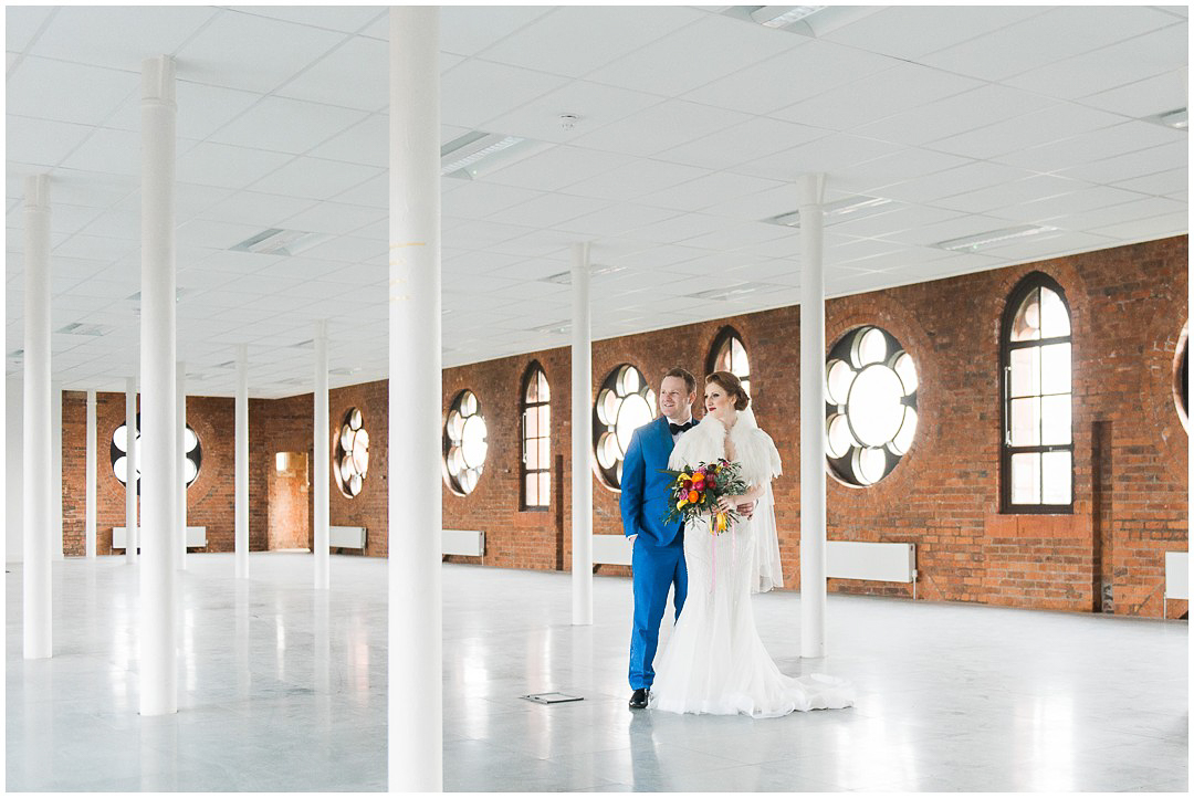 Bride and Groom in Templeton Building in Glasgow, Templeton Carpet Factory