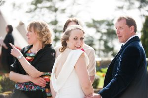 candid portrait of bride-wedding reception-champagne reception at wedding