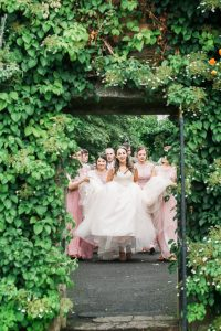 Pink wedding dress at House For An Art Lover Wedding Photogrpahy