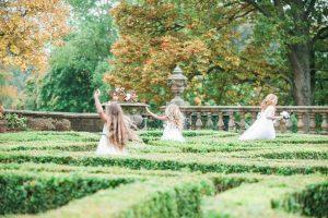 Flower girls in Pollok Park at Pollok House Wedding
