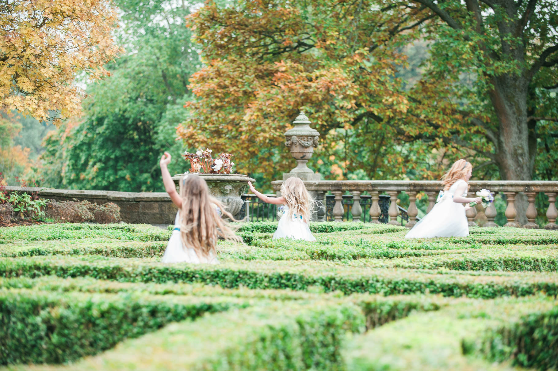 Flower girls in Pollok Park at Pollok House Wedding