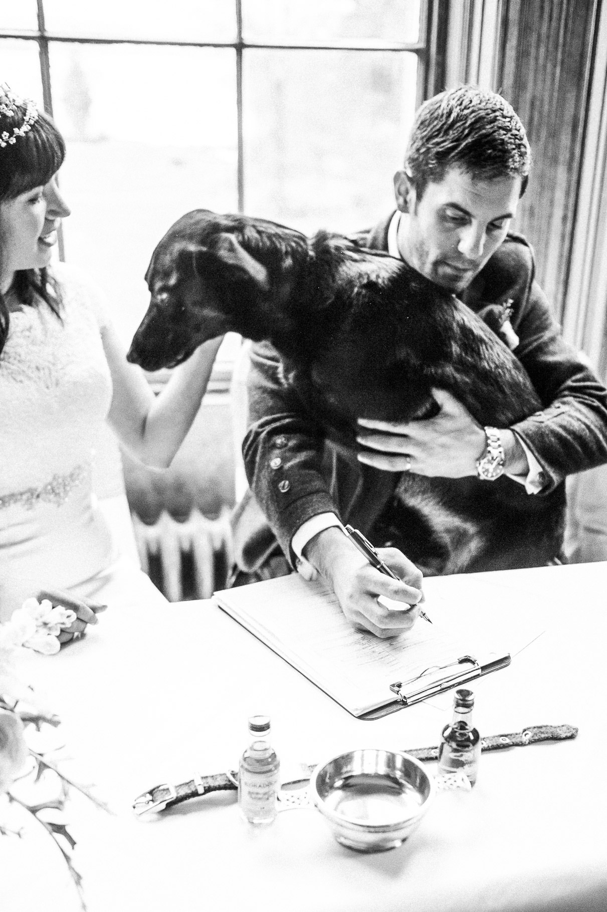 Black and White Wedding Photography in Scottish Highlands-dogs at weddings-argyll and bute wedding-wedding at ardanaiseig house