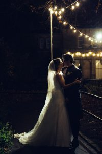 Evening Wedding Photography with Fairy Lights in Oran Mor Glasgo