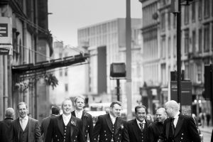 Groom and Groomsmen in Glasgow City Centre