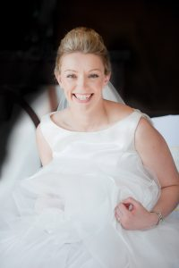 laughing bride in wedding dress-bridal portrait-natural bride