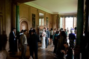 Bride and Groom with Guests at wedding in Stately Home in Scotla
