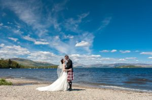Bride and Groom portrait at The Cruin by Loch Lomond