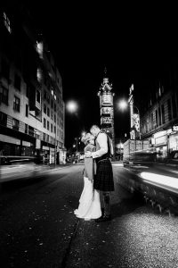 Black and White Glasgow City Wedding and Pollok House