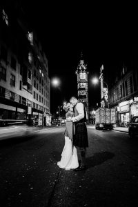 Black and White Glasgow City Wedding and Pollok House