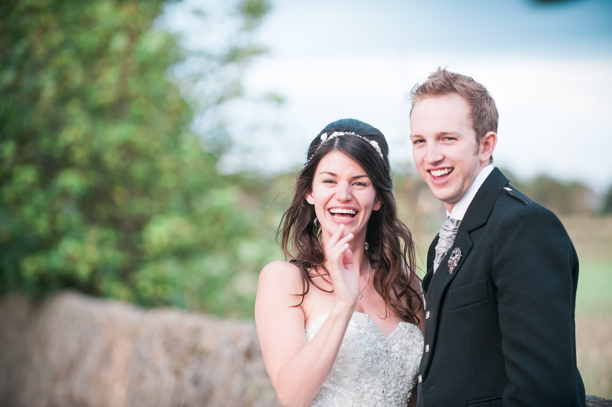 happy, relaxed bride and groom at Ayrshire wedding by the beach