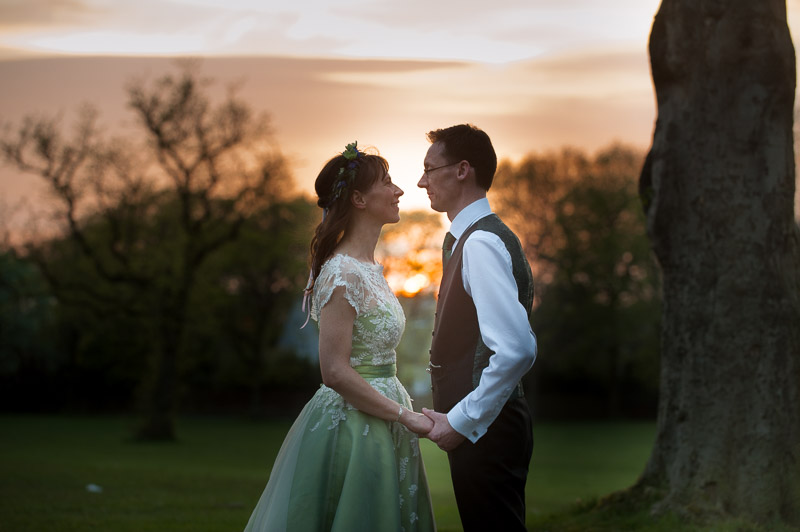 Bride and groom portrait at sunset in Glasgow city wedding
