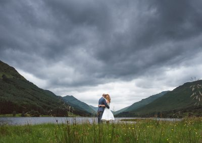 Bride and Groom at Loch Voil near Monachyle Mhor