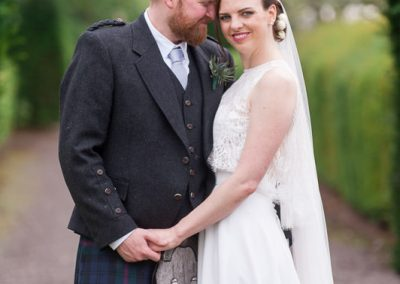 Bride and Groom at Myres Castle Wedding in FIfe