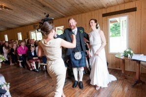 Muyres Castle wedding ceremony, wedding in Apple store Myres Catle, Humanist wedding Scotland