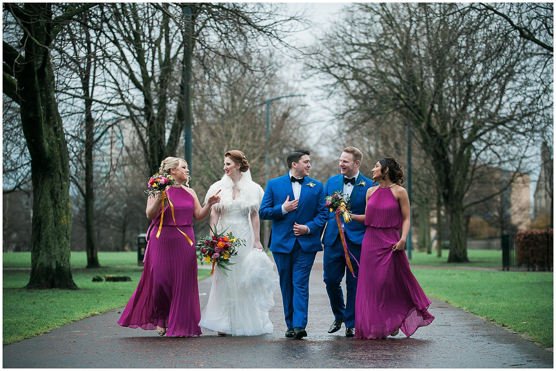 Bridal party in Glasgow Green, colourful wedding in Glasgow