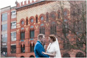 Bride and Groom at Templeton Building on Glasgow Green, City centre wedding in Glasgow