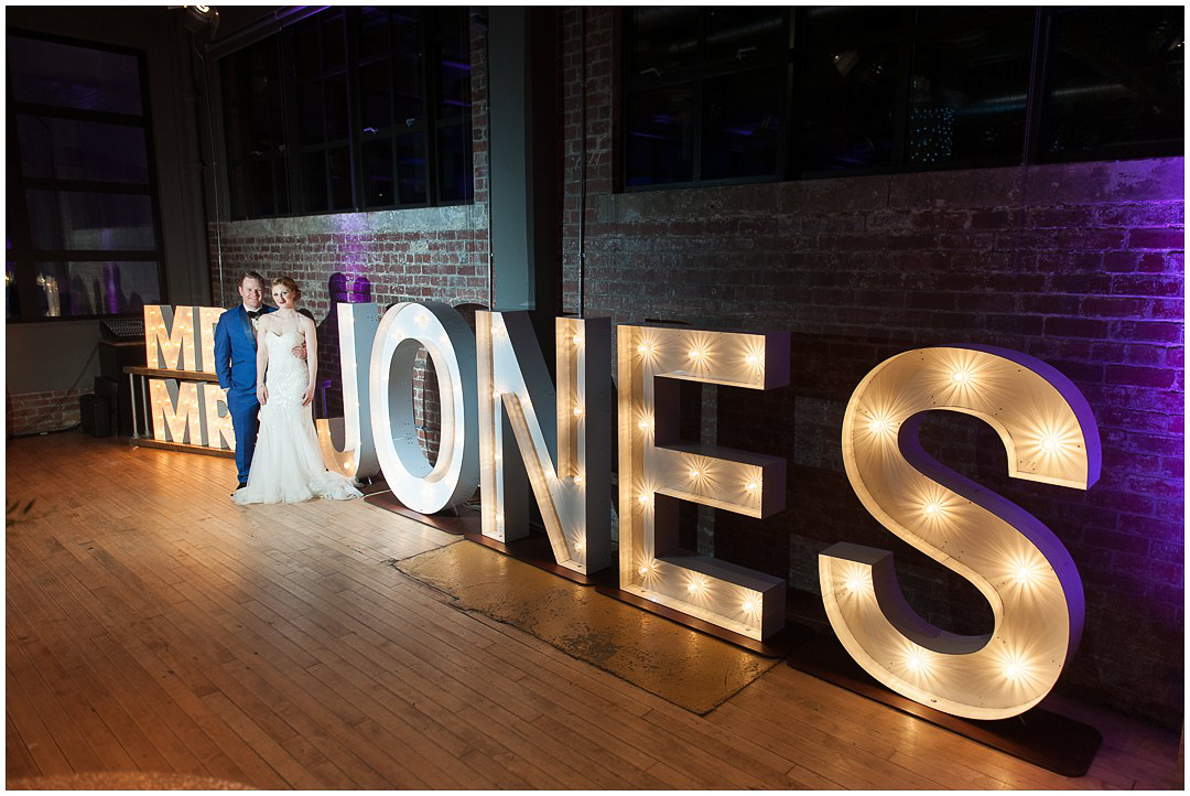 Bride and Groom with names in light up letters
