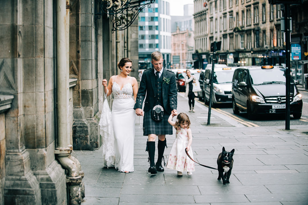 bride and groom and dog in glasgow, walking the dog in glasgow city centre, dog at glasgow city centre wedding