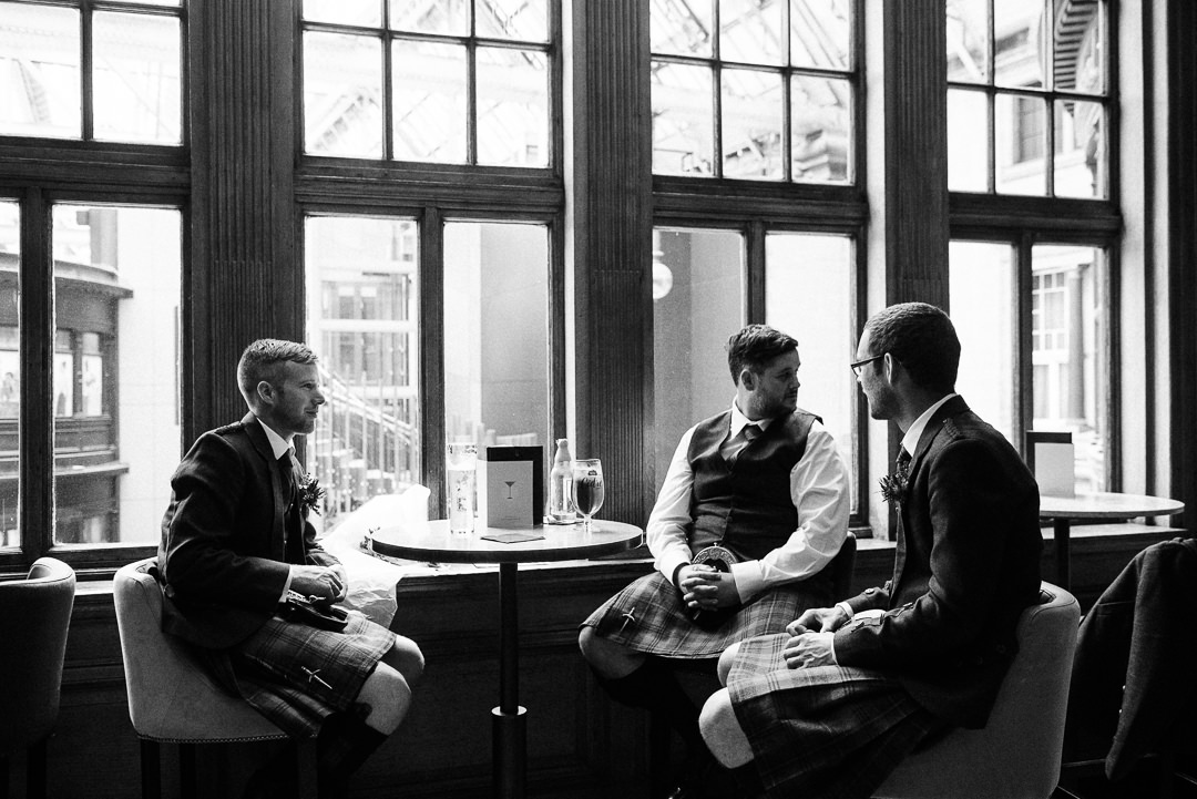 Groom and groomsmen in Grand Central Hotel Glasgow, Grand Central Hotel champagne bar wedding reception