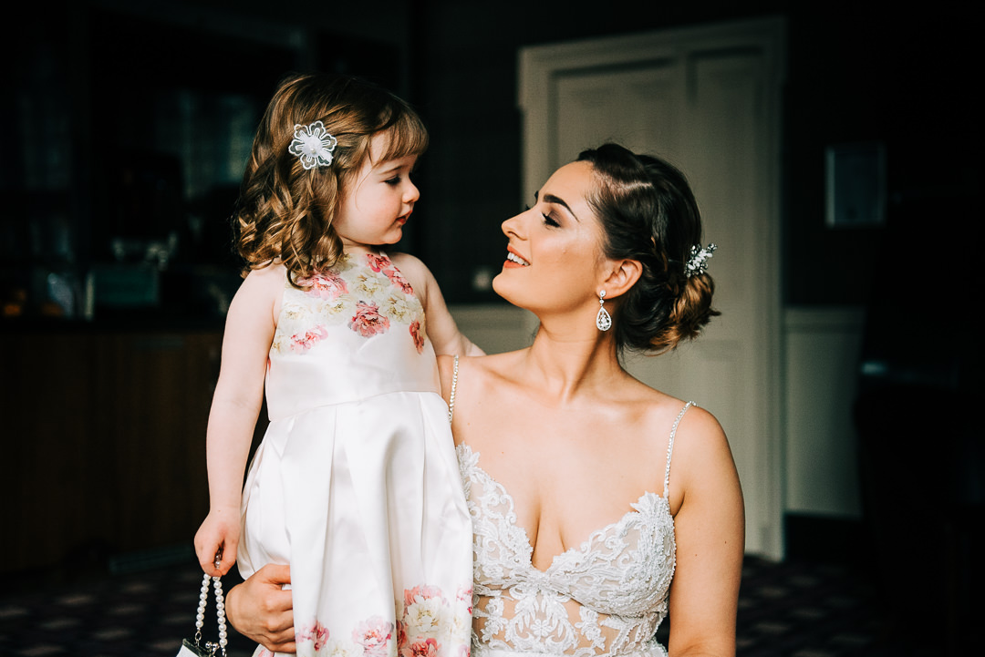bride and daughter at wedding, portrait of bride in Glasgow, natural light portrait of bride