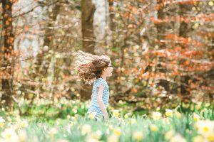 girls in autumn woods, girl running in autumn,