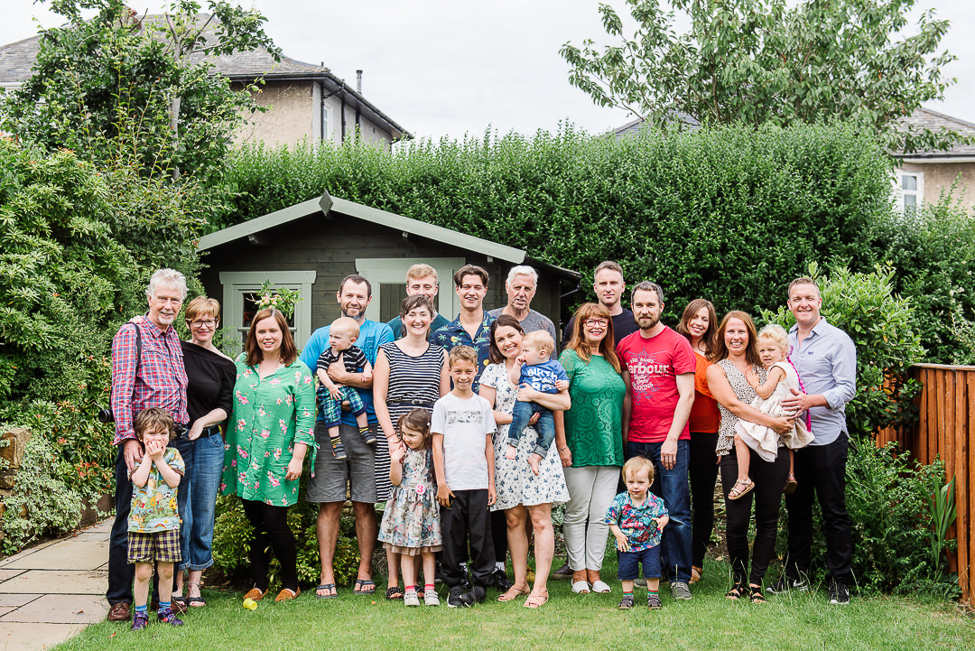 large family group photo, all the family in one photo, outdoor family group