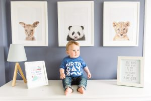 baby in his bedroom, baby's first birthday portrait, baby boy