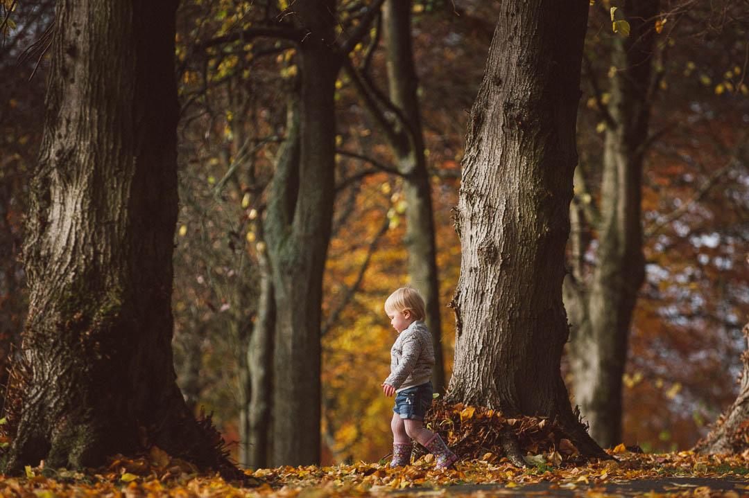 childrens portrait glasgow, girl in autumn leaves, little girl in forest, walking in autumn leaves